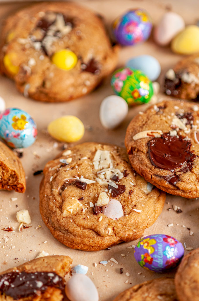 Easter Mini Egg Cookies on brown parchment