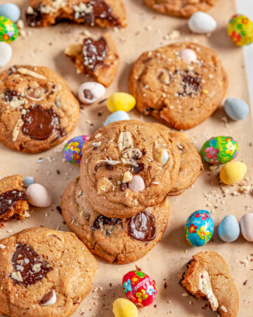 Easter Mini Egg Cookies on brown parchment and white marble