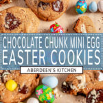 Easter Mini Egg Cookies long pin two images with blue rectangle and white text overlay