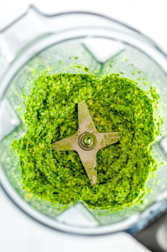 Easy Kale Basil Pesto in blender close up